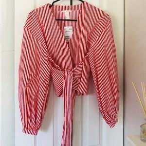 Red & White H&M Front wrap blouse